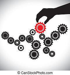 cogwheels, 在中, 黑色与的怀特, 控制, 在以前, 红, 齿轮, 在以前, hand(person).,...