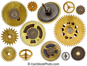 cogwheels, engrenagens, branco, fundo