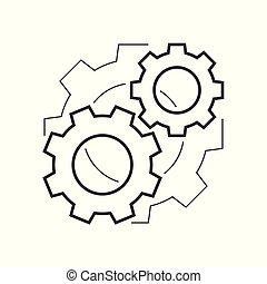 Cogwheels mechanism outline icon