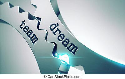 cogwheels., rêve, équipe