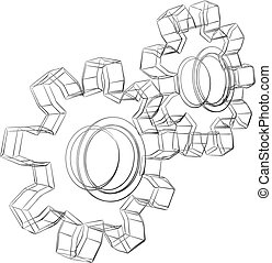 Pencil sketch stylized 3D cogwheels isolated on white background.