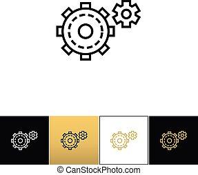Cogwheels symbol or cog gears line vector icon