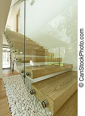 Coherent play of textures - Wooden minimalist staircase with...