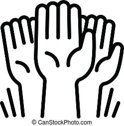 Cohesion hands up icon, outline style