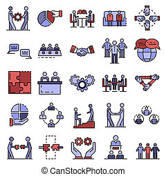 Cohesion icon set. Outline set of cohesion icons thin line color flat isolated on white