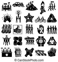 Cohesion icons set. Simple set of cohesion icons for web design on white background