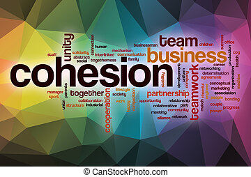 Cohesion word cloud with abstract background