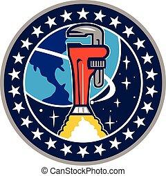 cohete, órbita, llave de la pipa, tierra, círculo, aumentador de presión, retro