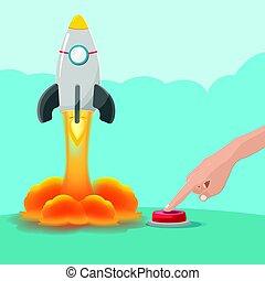 cohete, botón, mano, comienzo, vector, empujón