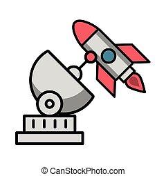 cohete, comunicación, satélite, antena