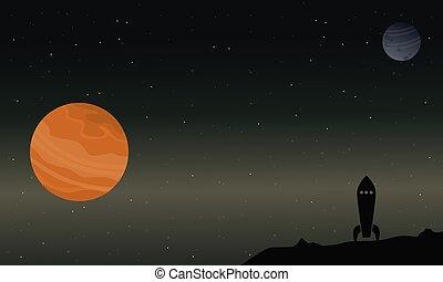 cohete, con, planeta, en, espacio exterior, paisaje
