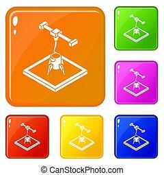 cohete, d, impresión, iconos, conjunto, color