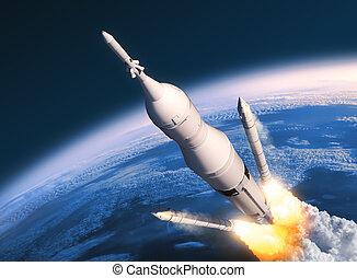 cohete, espacio, sólido, lanzamiento, sistema, boosters, separación