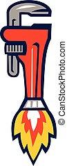 cohete, llave de la pipa, aumentador de presión, lado, retro
