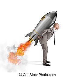 cohete, potencia, asideros, aislado, determinación, plano de fondo, hombre de negocios, blanco