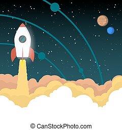 cohete, va, a, espacio