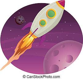 cohete, vuelo, barco, espacio