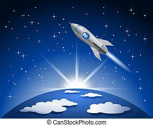 cohete, vuelo, en, espacio