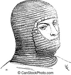 Coif of the soldiers in the Middle Ages, vintage engraving.