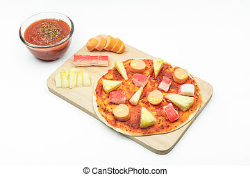 coiffe, saucisse, background], pâte, crosse, crabe, ananas, blanc, [isolated, pizza