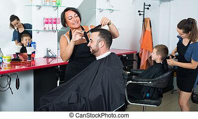 coiffeur, beauté, client, salon