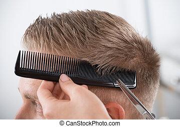 coiffeur, coupe, obtenir, salon, homme