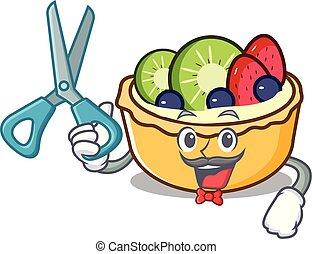 coiffeur, fruit, caractère, dessin animé, tarte