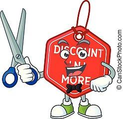 coiffeur, heureux, style, étiquette, noël, escompte, dessin animé, caractère, mascotte