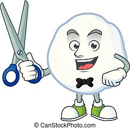 coiffeur, heureux, style, boule de neige, dessin animé, caractère, mascotte