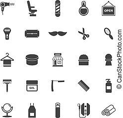 coiffeur, icônes, blanc, fond