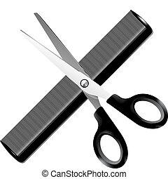 coiffeur, illustration, -, outils, vecteur