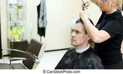 coiffeur, longs cheveux, coupures, ciseaux, homme