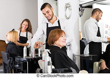 coiffeur, marques, coupure, femme