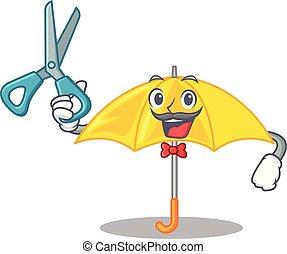 coiffeur, parapluie, isolé, jaune, mascotte