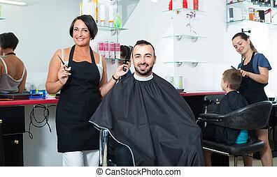 coiffeur, salon, beauté, client