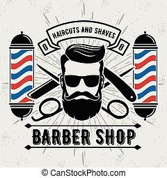 coiffeur, salon coiffure, logo, vendange, style, poteau