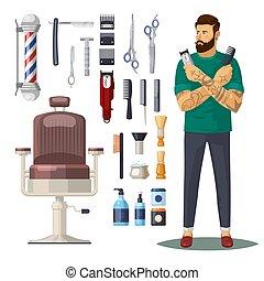 coiffeur, salon coiffure, ou, salon, icônes, accessoires