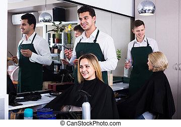 coiffeur, salon, coupures, cheveux