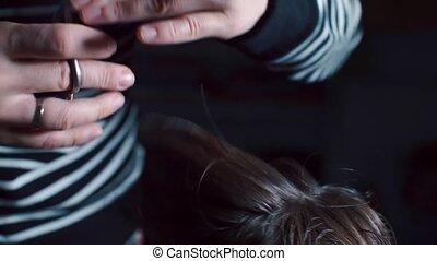 coiffeur, scissors., cheveux, coupures