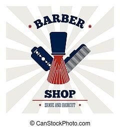 coiffeur, vecteur, salon., cheveux, design., icône, magasin, styliste, illustration