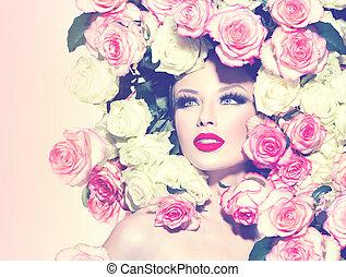 coiffure, beauté, roses, sexy, portrait, girl, modèle