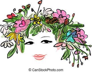 coiffure, conception, femme, floral, portrait, ton