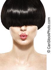coiffure, court, beauté, frange, cheveux, girl