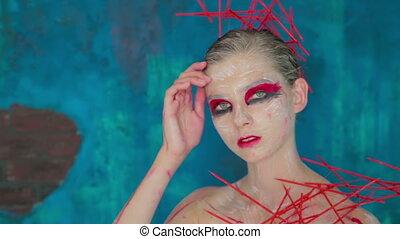 coiffure, créatif, élégant, maquillage, mystérieux, portrait, girl