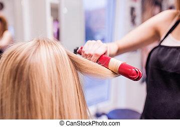 coiffure, créer, coiffeur, unrecognizable, elle, beau