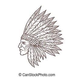 coiffure, croquis, indien, indigène, chef, américain, tête