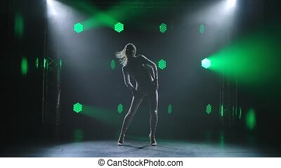 coiffure, danses, lent, femme, centre, brillant, étape, ...