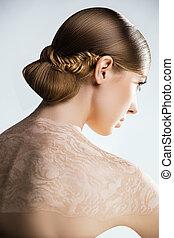 coiffure, dress., coup, maquillage, femme, studio, portrait mariage, professionnel, mode