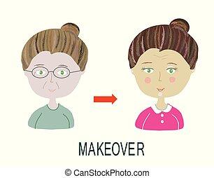 coiffure, femme, faire, -, haut, makeover