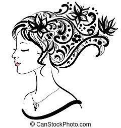 coiffure, femme, floral, figure